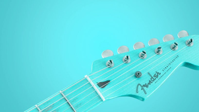 blue guitar on a blue background