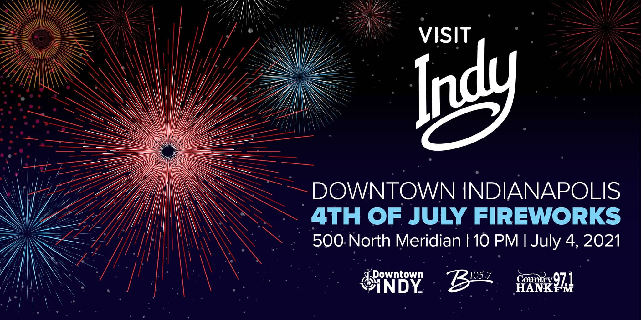 Downtown Indy's 4th of July Fireworks at 500 N. Meridian at 10 PM