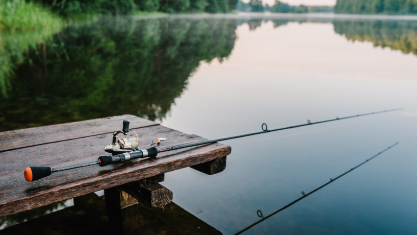 fishing pole over a lake of water