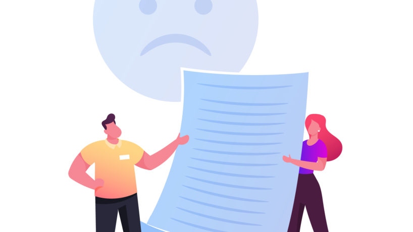 Claim Customer Concept. Tiny Characters with Sad Face Holding Huge Paper. Client Complaint, Negative Feedback, Service Dislike, Rejection, Not Approved and Unhappy People. Cartoon Vector Illustration