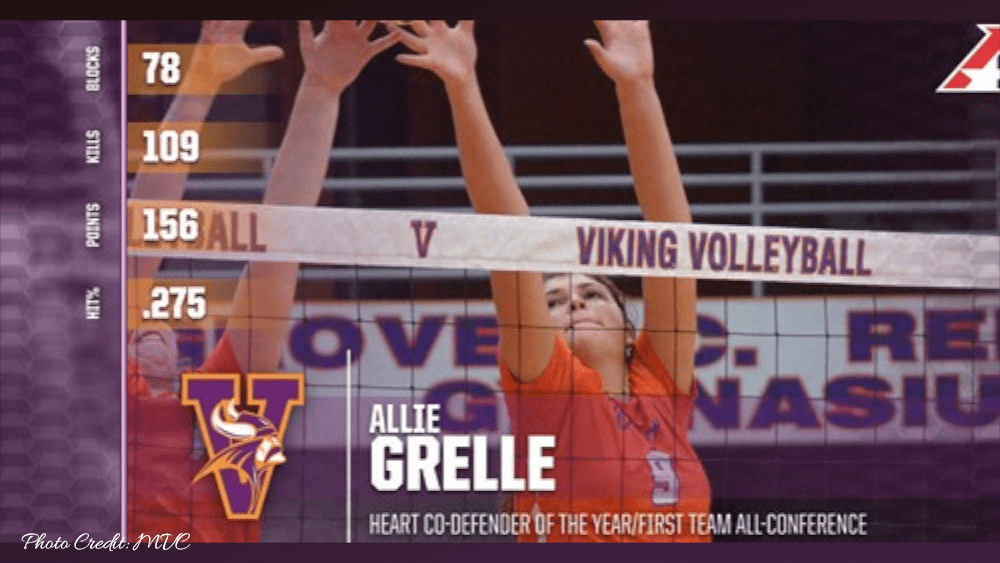 MISSOURI VALLEY COLLEGE WOMEN'S VOLLEYBALL STUDENT-ATHLETE ALLIE GRELLE NAMED HEART DEFENDER OF THE YEAR