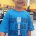 Trevor: Trevor was so excited about his new shirt, he put it on before his WalMart shopping trip.