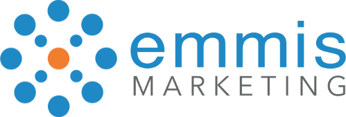 Emmis Marketing blue and orange words