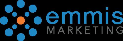 Emmis Marketing blue and orange words