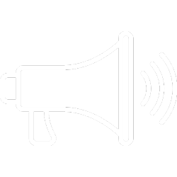 white megaphone with sound waves icon