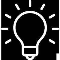 white lightbulb icon