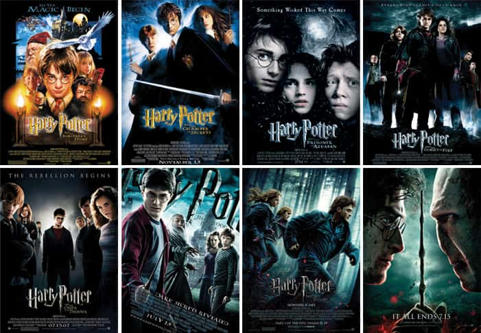 Image result for image of all 8 harry potter films