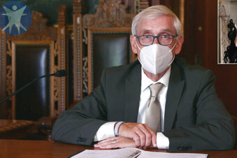 FILE - This July 30, 2020 image taken from video by the Wisconsin Department of Health Services shows Wisconsin Gov. Tony Evers in Madison, Wis. Faced with soaring coronavirus cases across Wisconsin, particularly on college campuses, Evers on Tuesday, Sept. 22, extended a statewide mask mandate until Nov. 21.  (Wisconsin Department of Health Services via the AP,  File)