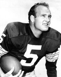 """Paul Hornung, of the Green Bay Packers, in an undated photo. Hornung, the dazzling """"Golden Boy"""" of the Green Bay Packers whose singular ability to generate points as a runner, receiver, quarterback, and kicker helped turn them into an NFL dynasty, has died, Friday, Nov. 13, 2020. He was 84. (AP Photo, File)"""