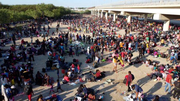 Border Crisis worsens as more than TEN THOUSAND gather under Del Rio Texas bridge
