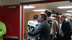 Telesco Greets Weddle by Marty Caswell