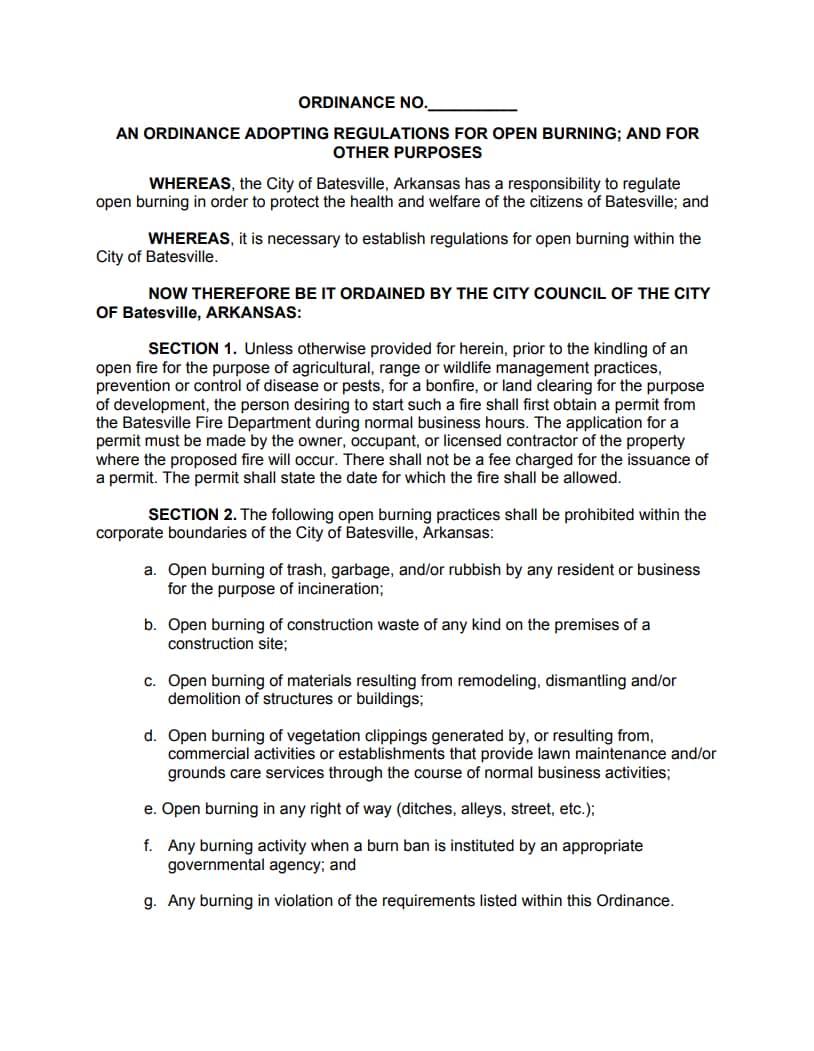 Batesville Burning Ordinance Page 1