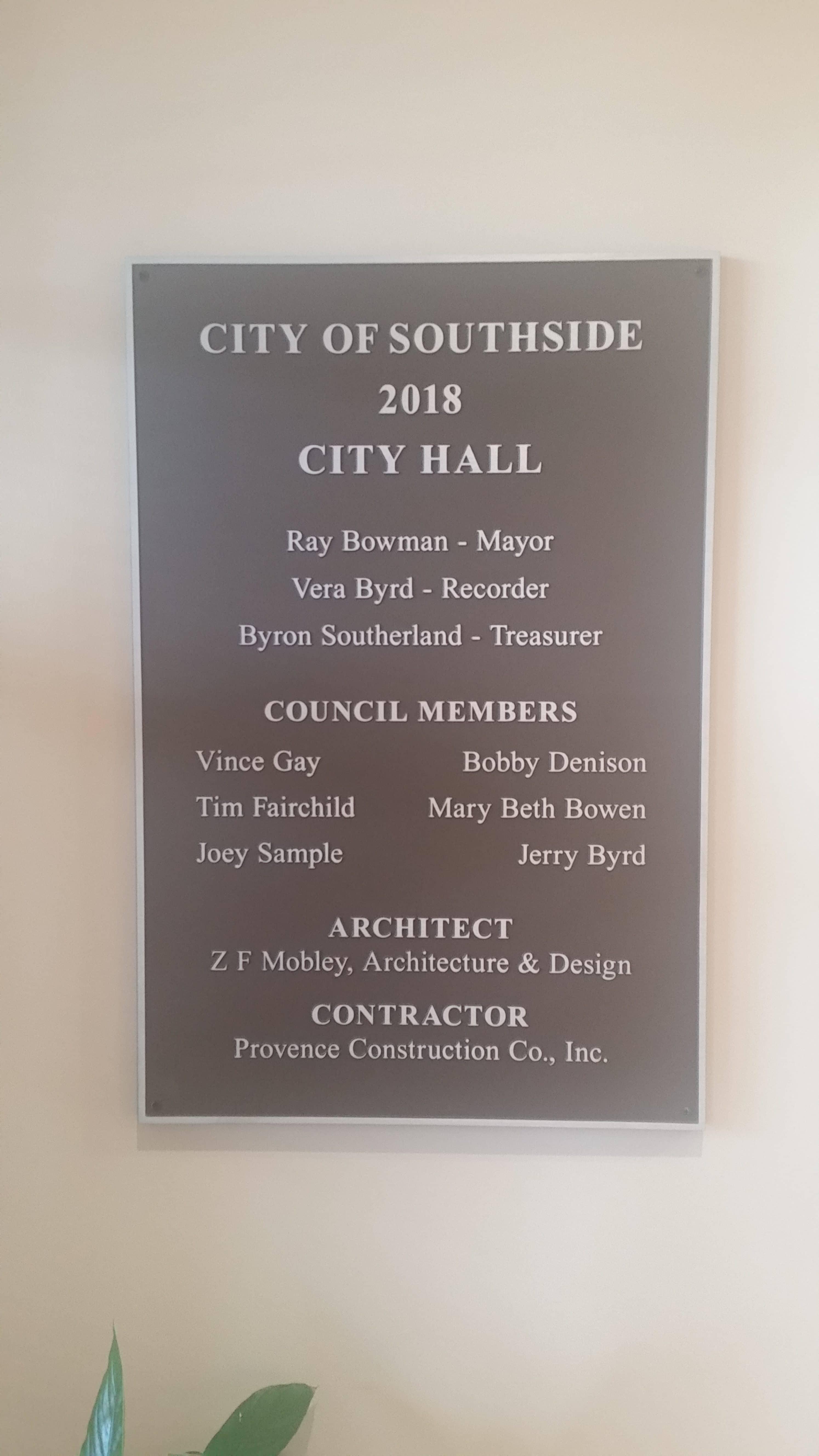 Southside City Hall plaque