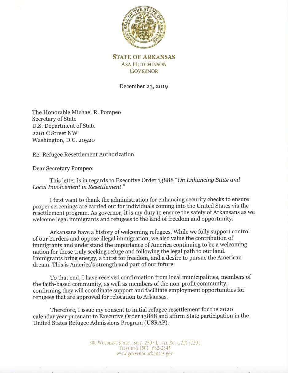 Hutchinson refugee letter 1