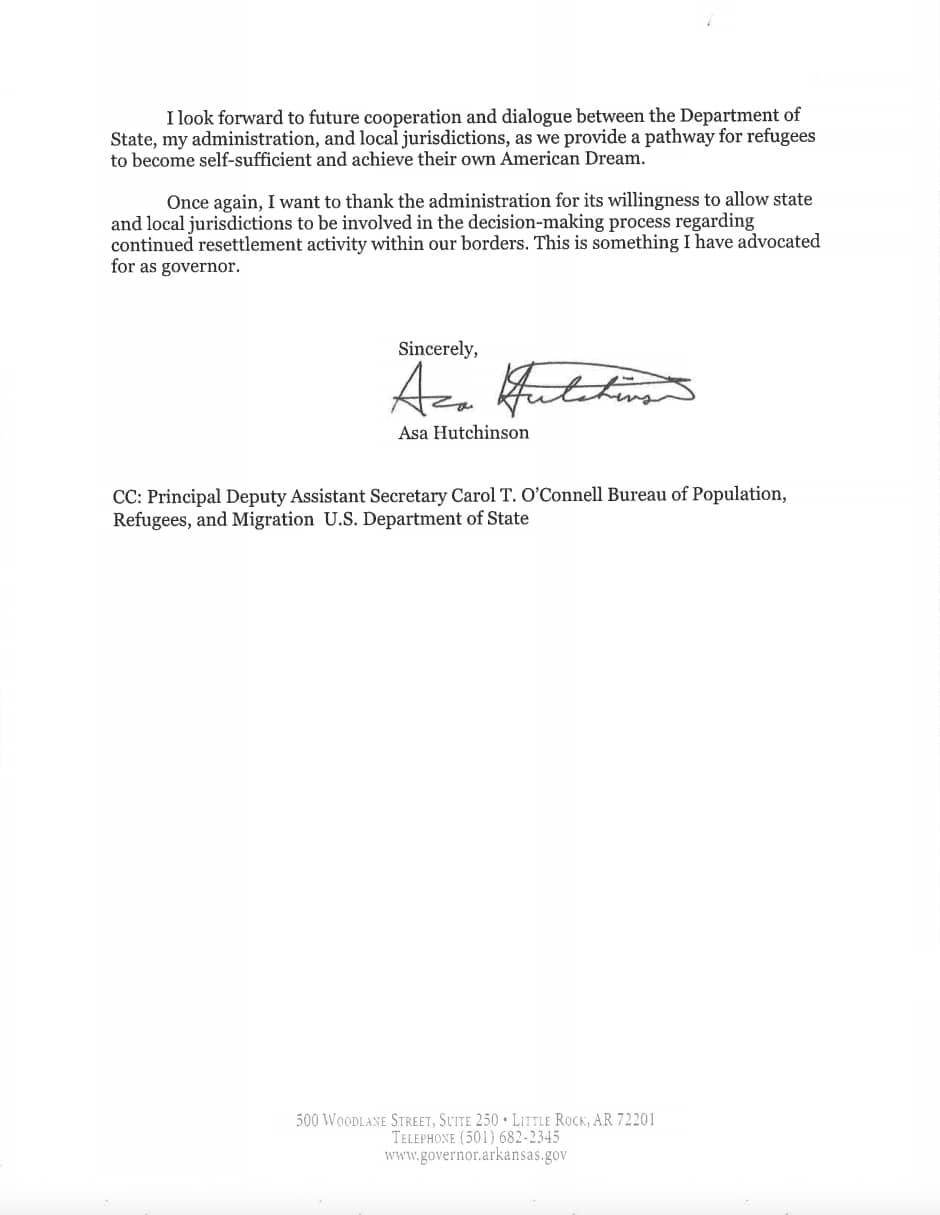 Hutchinson refugee letter 2