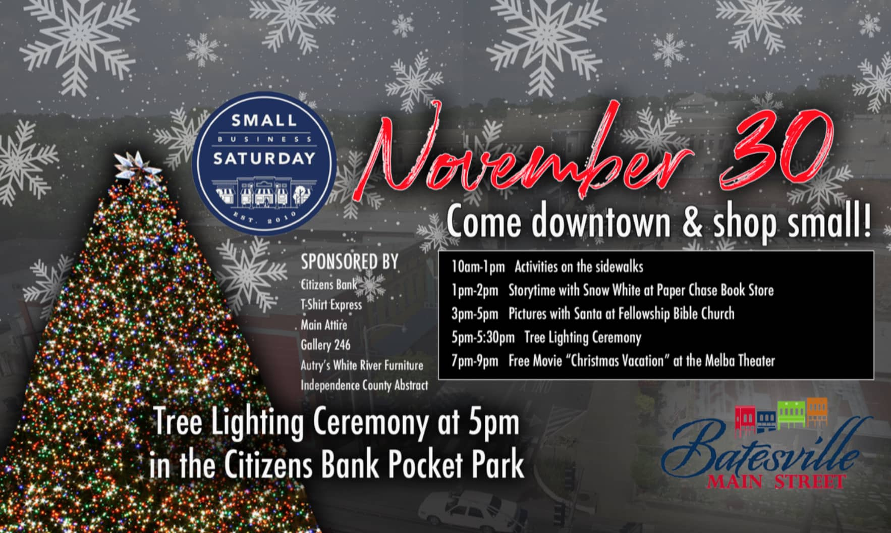 Small Business Saturday schedule