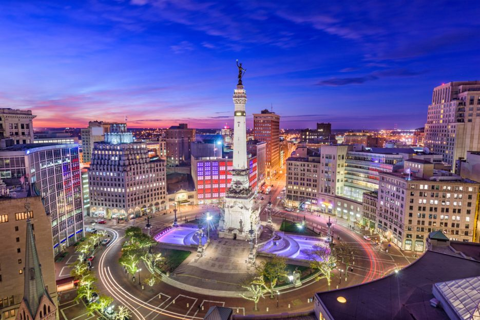 A Picture of downtown Indianapolis and Emmis Headquarters.