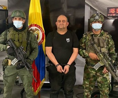 Colombian drug lord Dario Antonio Usaga captured by military forces