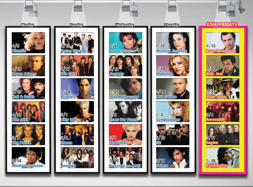 80s Artist of the Day Schedule