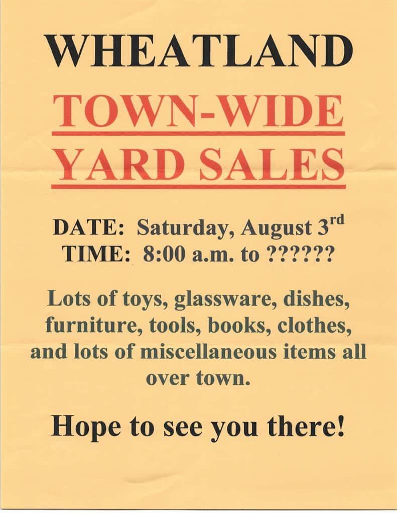 Wheatland Town Wide Yard Sales | Classic Hit Memories WAMW 107 9FM