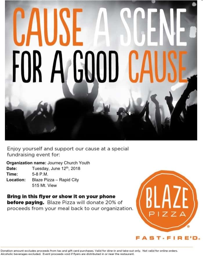 Journey Church Youth Group Fundraiser- Dine out at Blaze Pizza (west