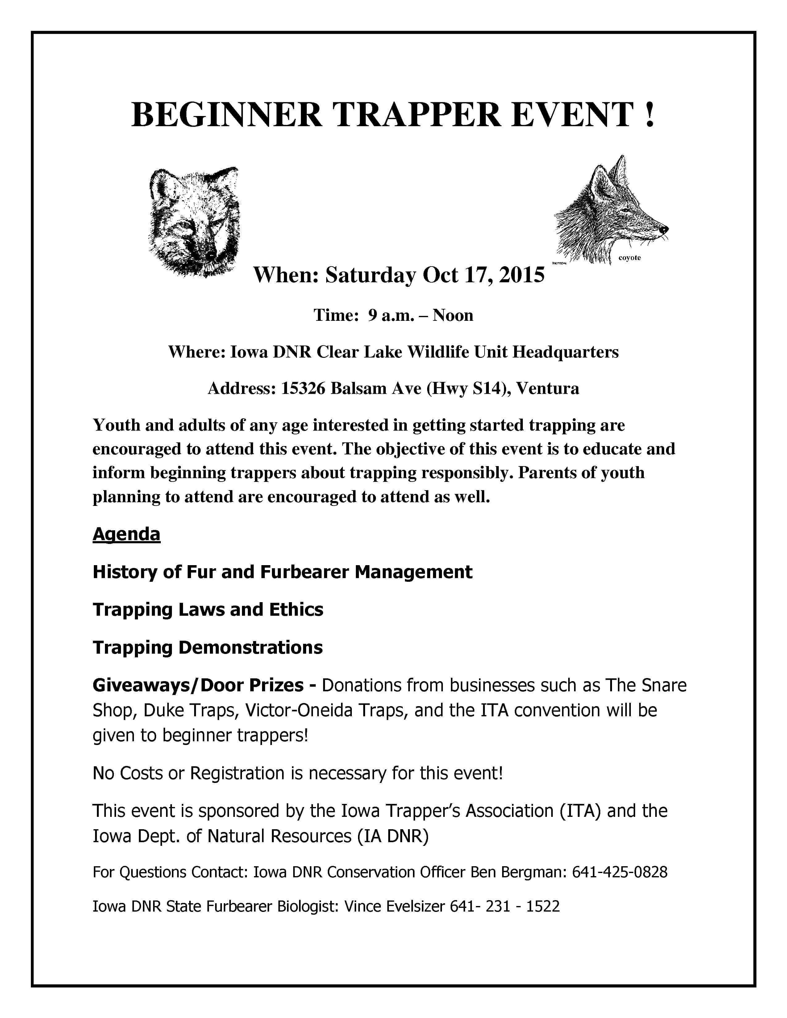 BEGINNER TRAPPER EVENT! - Discover North Iowa