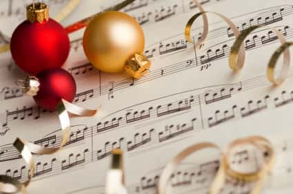 music sheets by ornaments and ribbon