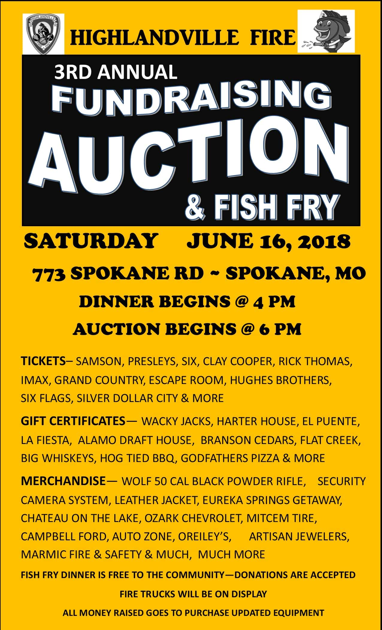 highlandville fire fundraising fish fry and auction
