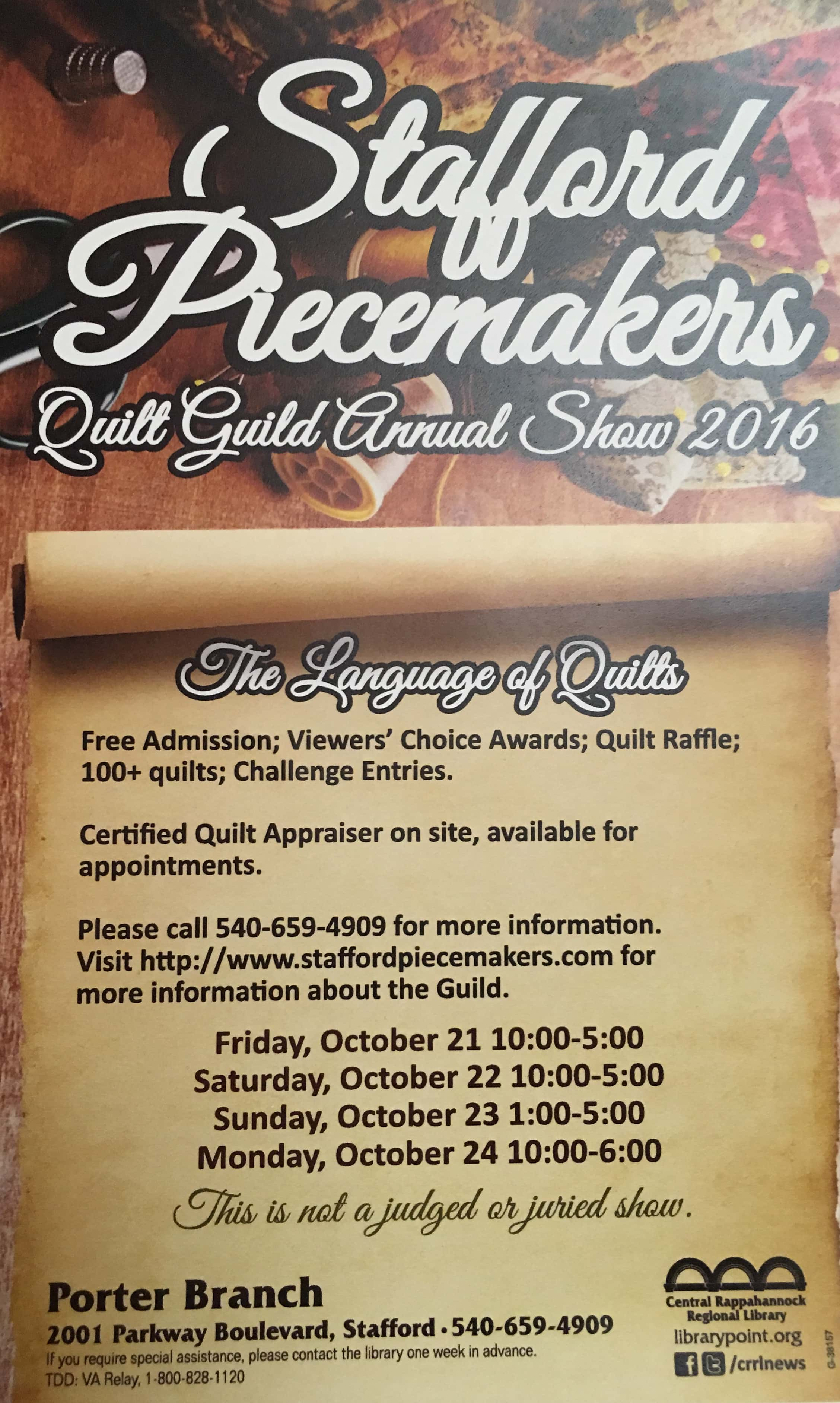 2016 Stafford Piecemakers Quilt Guild Annual Show B1015 All Of