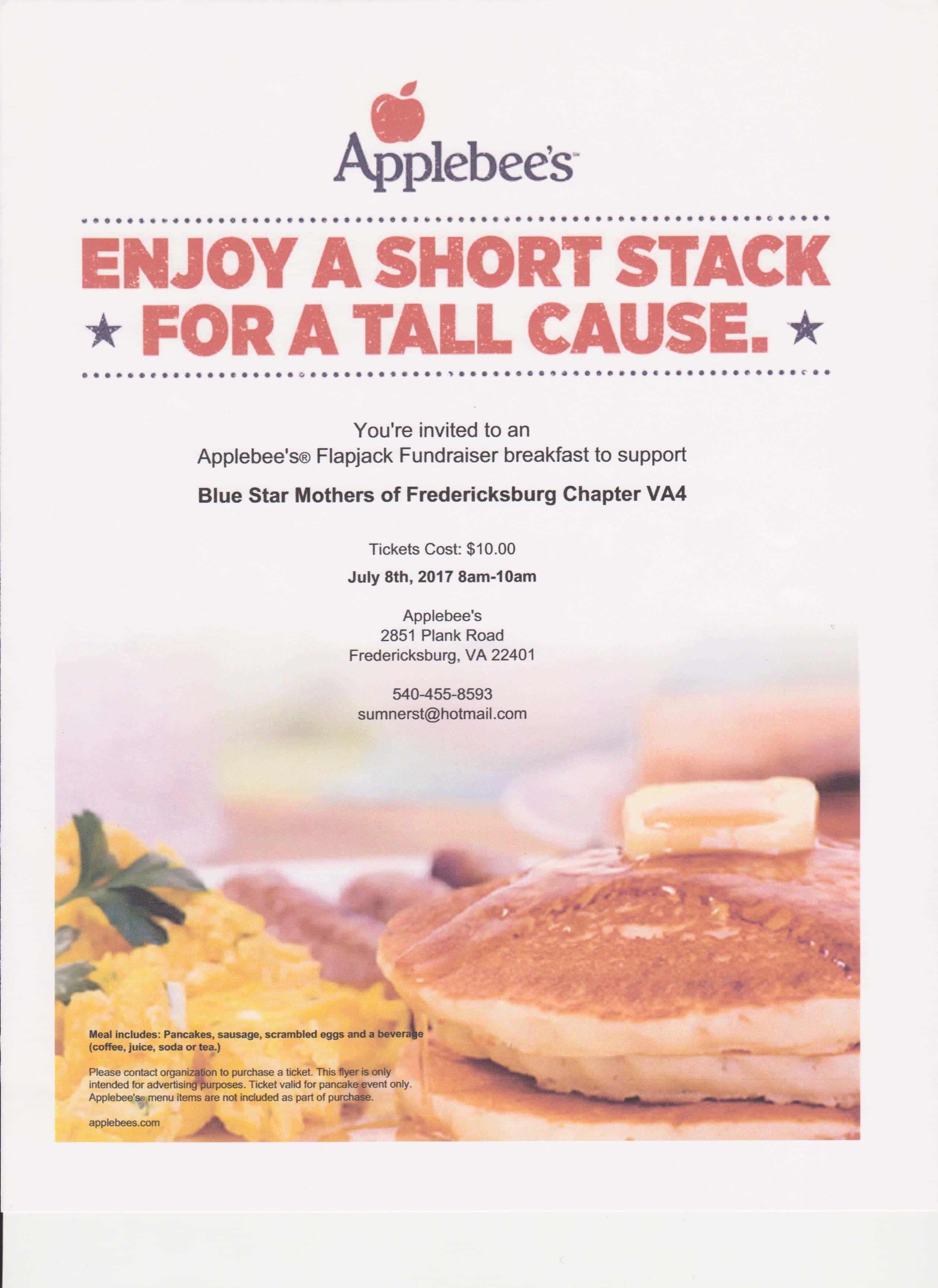 flapjack breakfast fundraiser blue star mothers of fredericksburg chapter va4