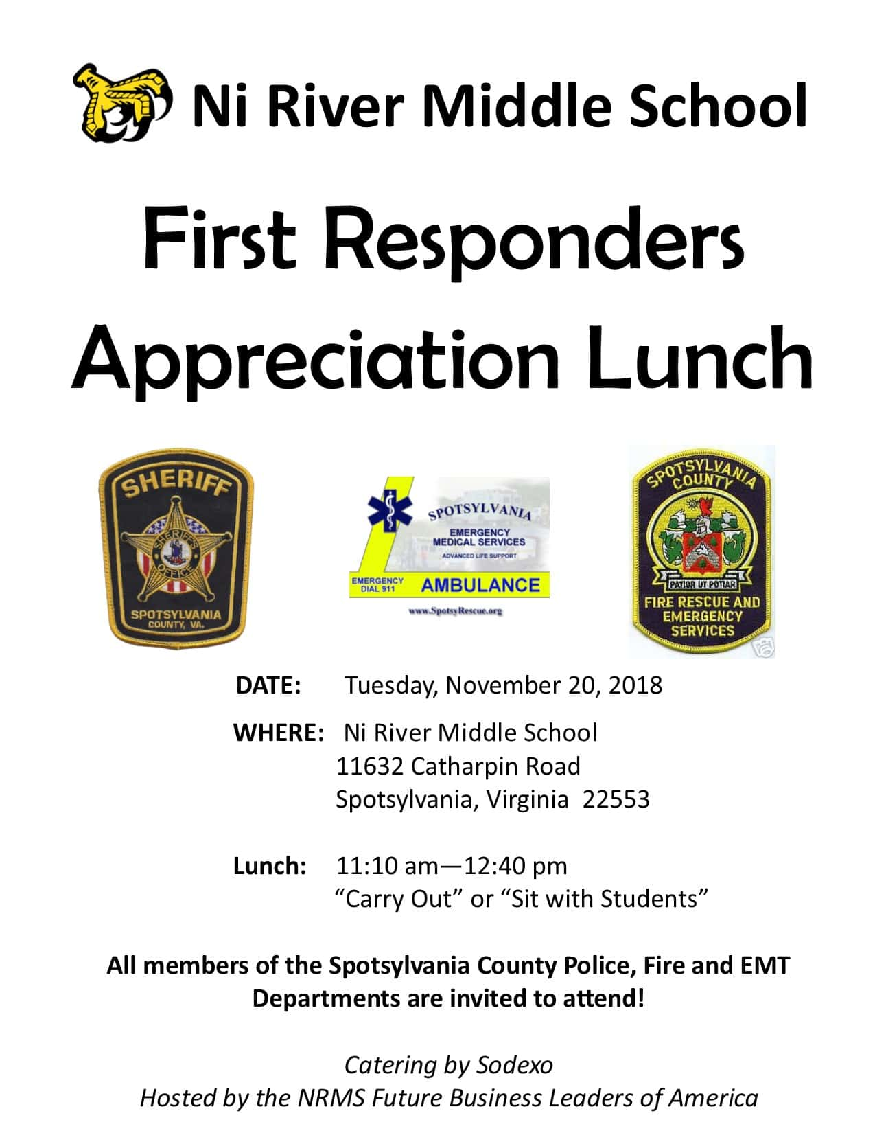Ni River Middle School First Responders Appreciation Lunch