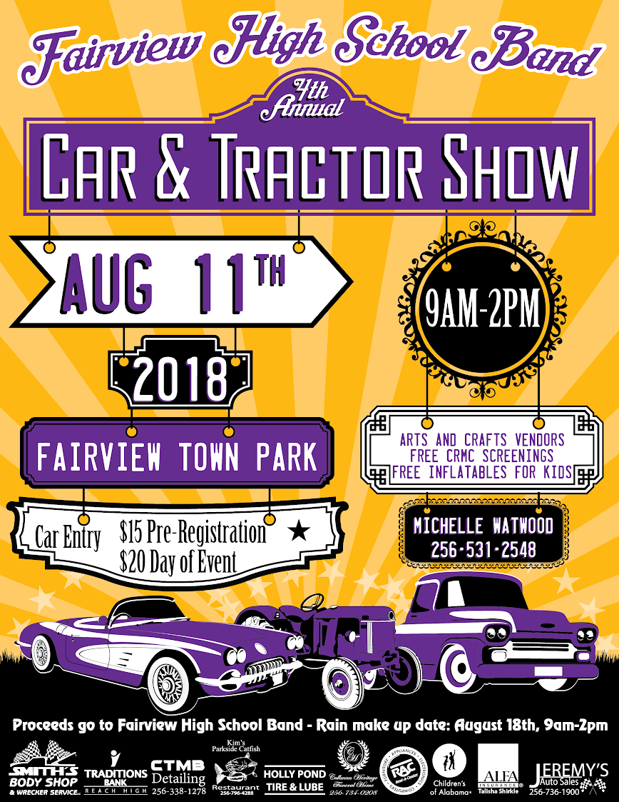 Th Annual Fairview High School Band Car And Tractor Show Mix - Car show event insurance