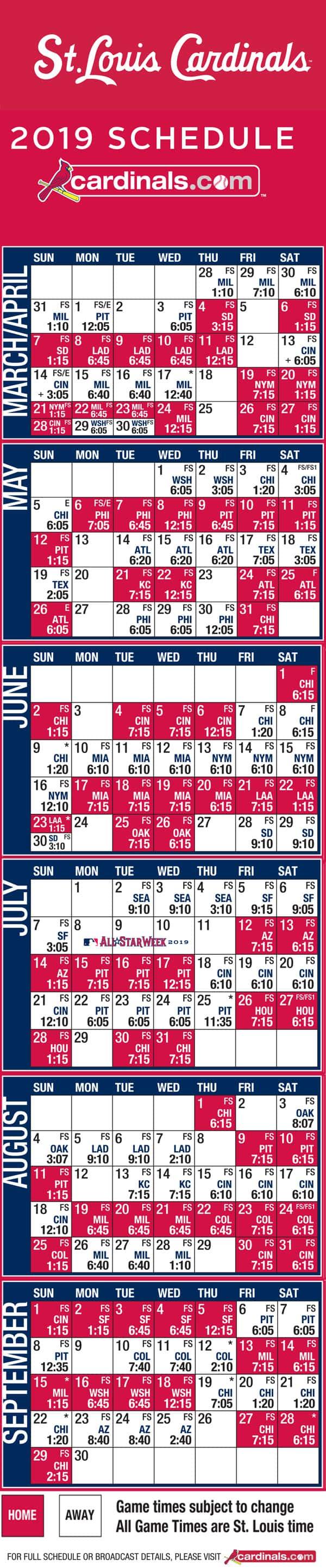 e4ee495f Cardinals schedule 2019 | My Ozarks Online