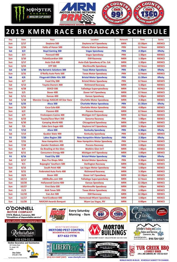 photo relating to Printable Nascar Schedules named 2019 NASCAR Program Northwest MO Information and facts