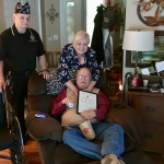 Veteran Chuck Collie: Chuck Collie (seated) receiving an American Legion National Honor. Chuck served in the US Army as a Forward Artillary Observer and winters in Florida and lives in Palmyra