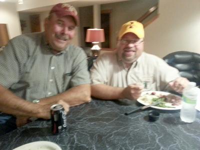Farm Director Duane Murley with Week 1 Feed the Farmer winner, Scott Grubbs of Perry, IA.