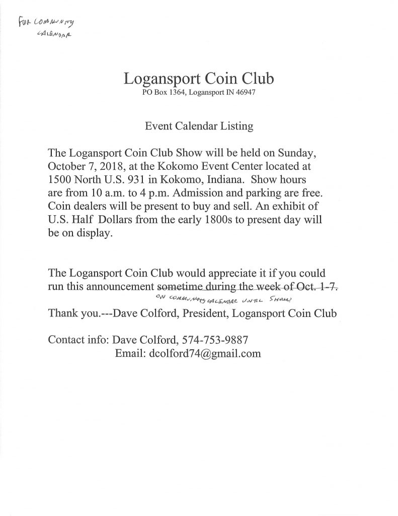 The Logansport Coin Club | Z 92 5