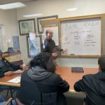 Station General Manager Joe Munsell educating a group of Lodge Grass Students about the structure of Radio