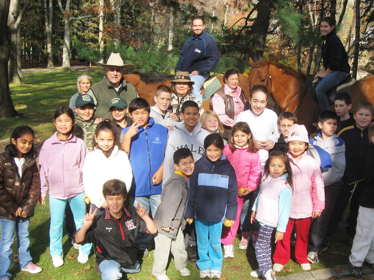 Adie von Gontard with Club Members at his farm in 2010. Boys & Girls Club of Greenwich photo