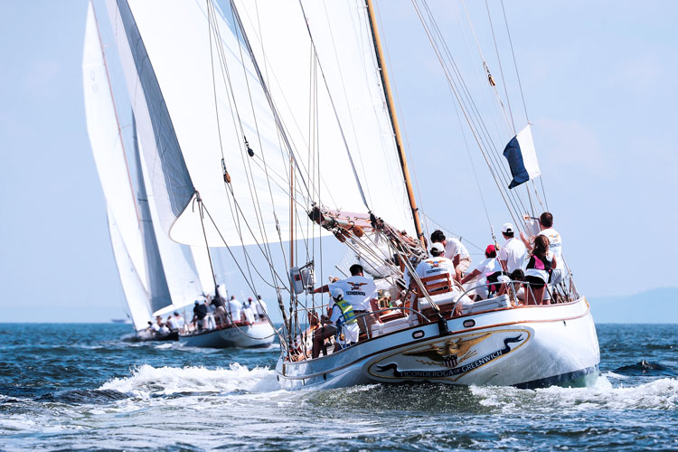 At the 6th Annual Classics Regatta out of Indian Harbor. Ticonderoga, Puffin, and Nor'easter head towards the first mark.  Photo courtesy of PhotoBoat.com