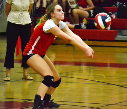 Greenwich High School's Nadia Sotgiu makes a play on the ball during Tuesday's game against the Mustangs. (Paul Silverfarb photo)