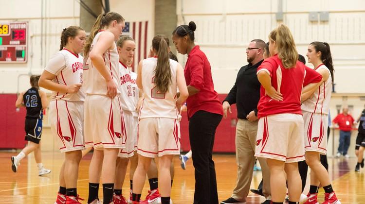 head coach chrys hernandez talks to her greenwich high school girls basketball team during a timeout john ferris robben photo