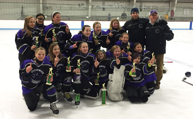 Members of the Greenwich Panthers 12-U team pose for a team photo after claiming gold up in Brattleboro, VT last weekend.