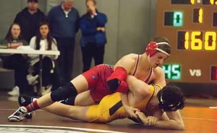 The Greenwich High School and Brunswick School wrestling teams took to the mat Tuesday for competition in the annual Town Crown competition. (John Ferris Robben photo)
