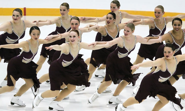 Members of the Skyliners senior team perform during the U.S. National Synchronized Skating Championships in Kalamazoo, Mich.