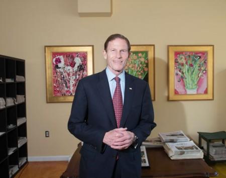 U.S. Senator Richard Blumenthal at the Sentinel office last Friday, March 11.