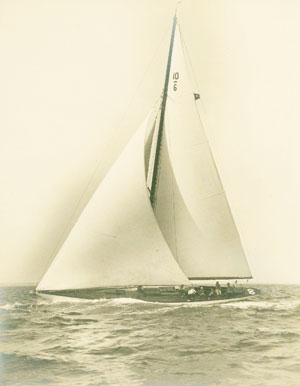 """Narcissus,"" a 10-meter yacht owned by Frank Page, photo from the Greenwich Historical Society Library and Archives."