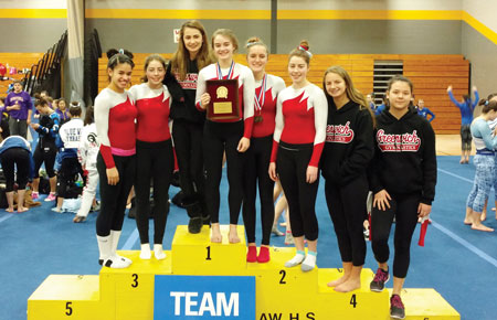 For the first time since the early 80's, the Greenwich High School gymnastics team celebrates an FCIAC championship. (Paul Silverfarb photo)