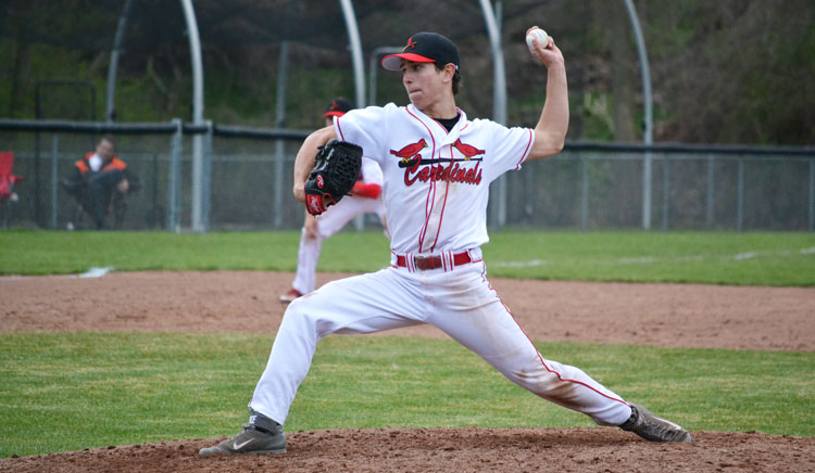 Greenwich High School starting pitcher Anthony Ferraro fires the ball to the plate during a recent game. (Paul Silverfarb photo)