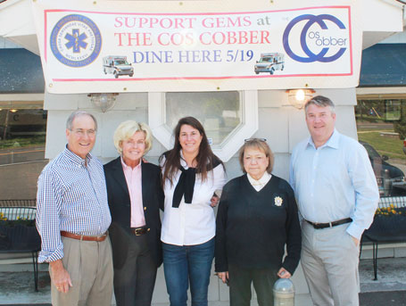 From left to right: John Raben, GEMS Board President, Ann Hagmann, GEMS Board Member and Event Coordinator, Caren Vizzo, Cos Cobber Owner, Charlee Tuft, Executive Director of GEMS, James Higgins, Board Secretary.
